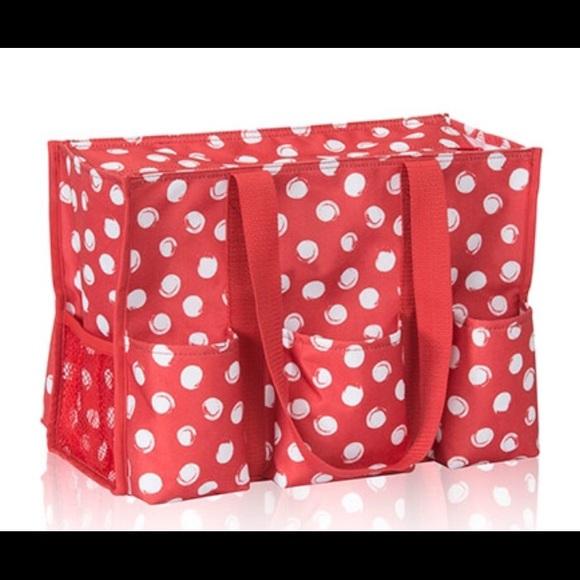 Thirty One Bags Zip Top Utility Tote Swirl Dot New Poshmark